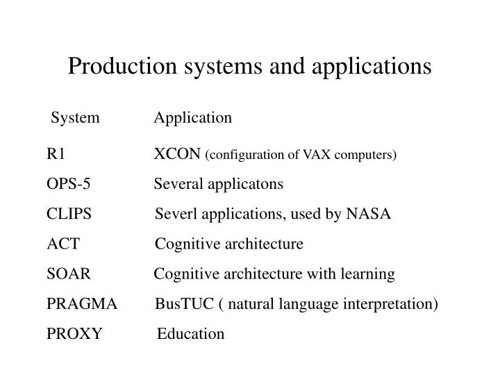 Production systems and applications