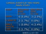 cardiac events at two years ravel study