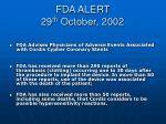 fda alert 29 th october 2002