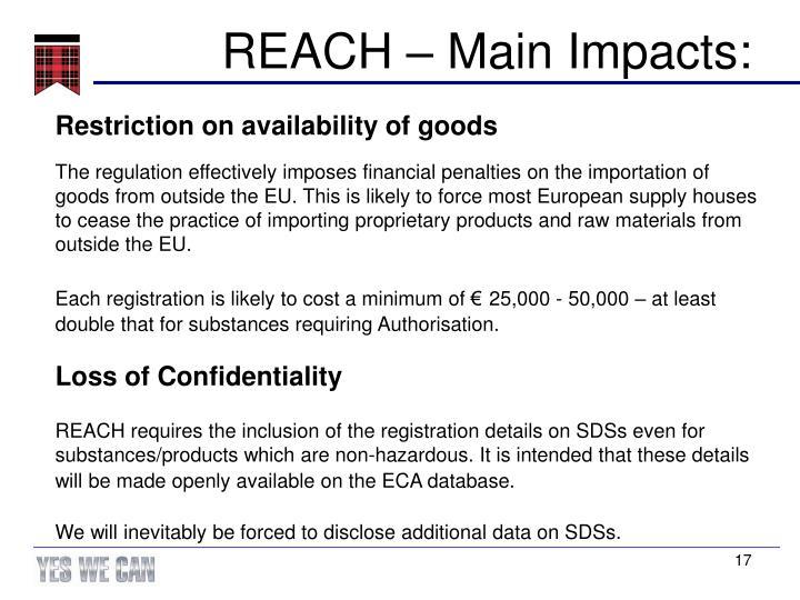 REACH – Main Impacts: