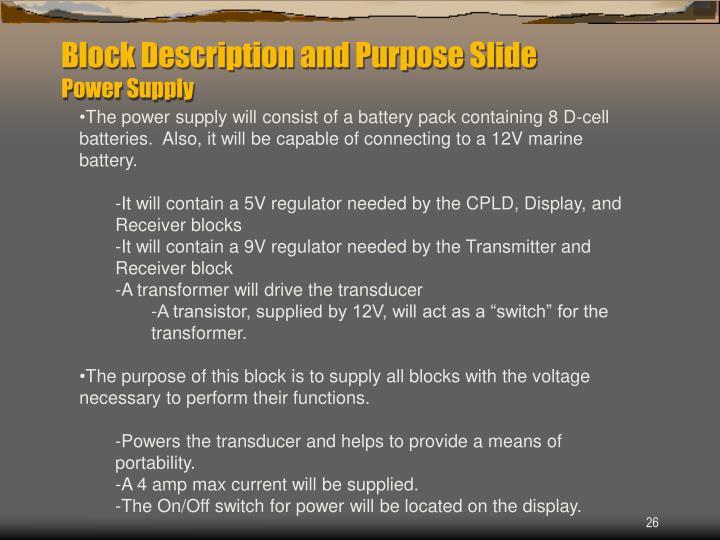 Block Description and Purpose Slide
