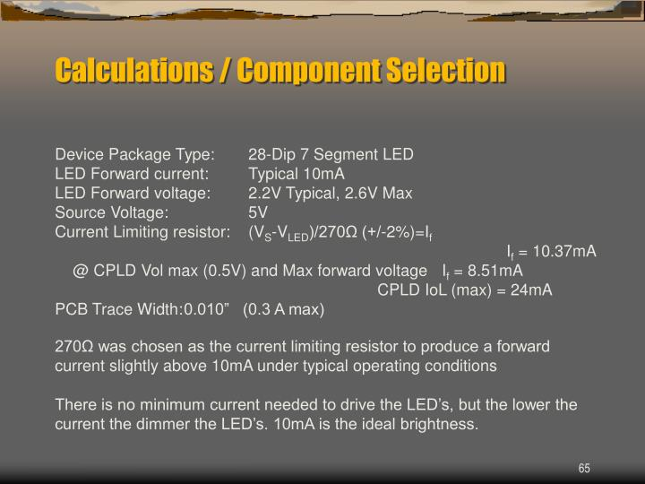 Calculations / Component Selection