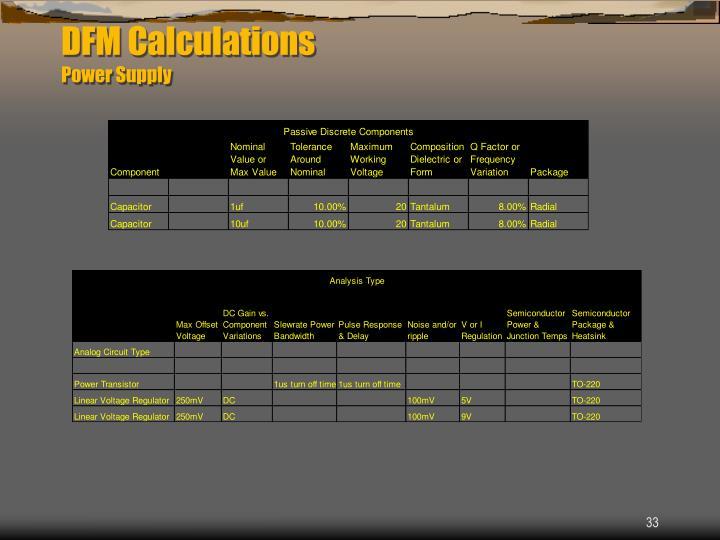 DFM Calculations