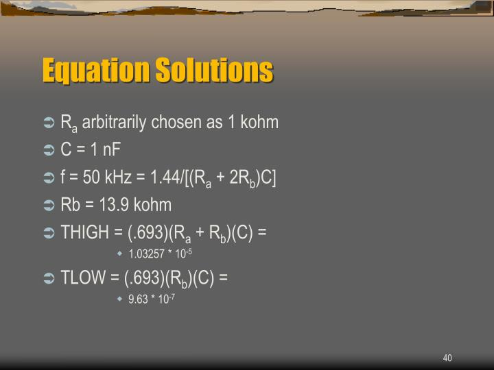 Equation Solutions