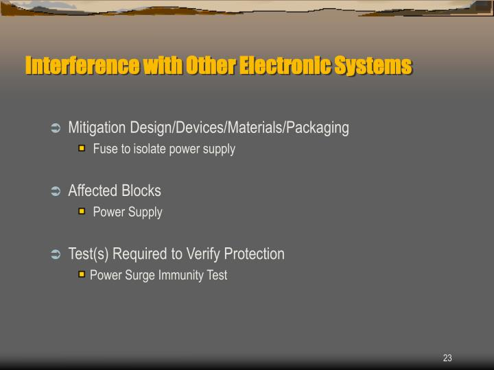Interference with Other Electronic Systems