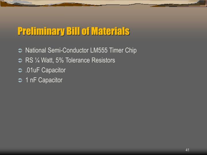 Preliminary Bill of Materials