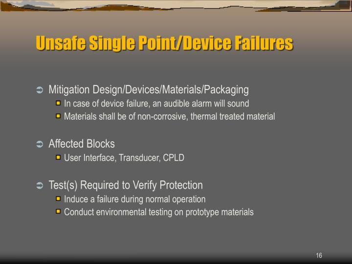 Unsafe Single Point/Device Failures