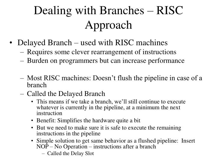 Dealing with Branches – RISC Approach