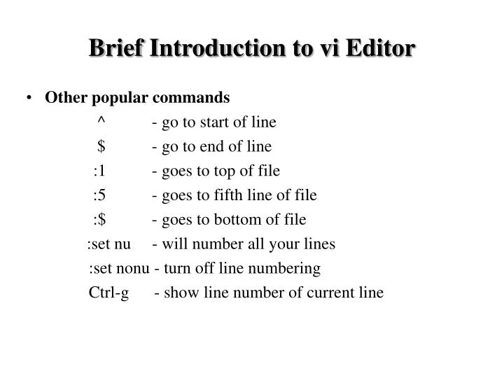 Brief Introduction to vi Editor