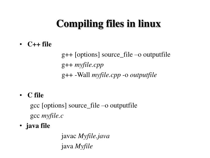 Compiling files in linux
