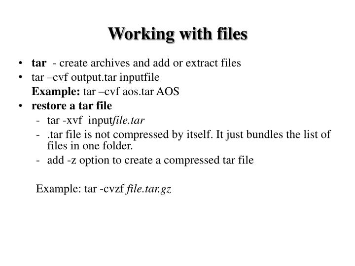Working with files