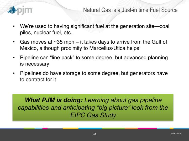 Natural Gas is a Just-in time Fuel Source
