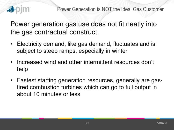 Power Generation is NOT the Ideal Gas Customer
