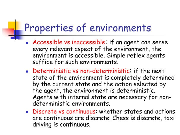 Properties of environments