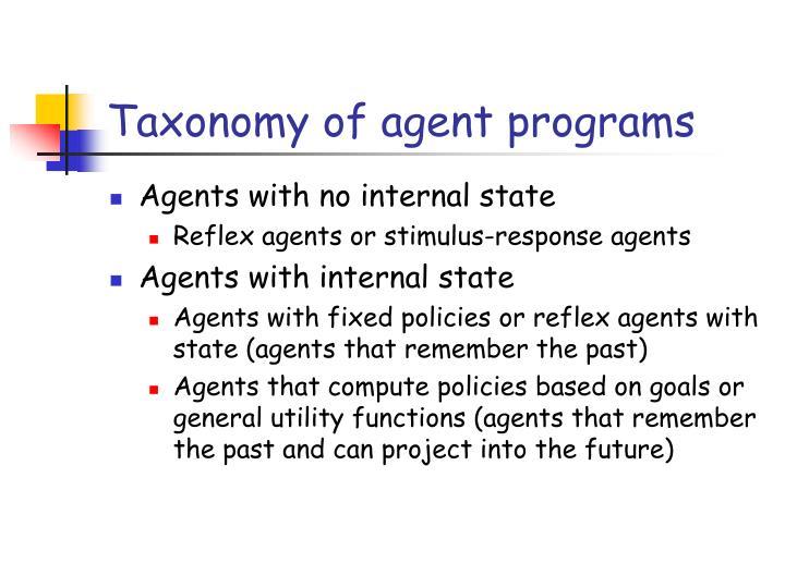 Taxonomy of agent programs