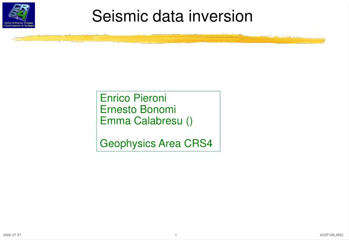 seismic data inversion n.