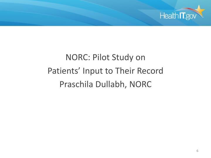 NORC: Pilot Study on