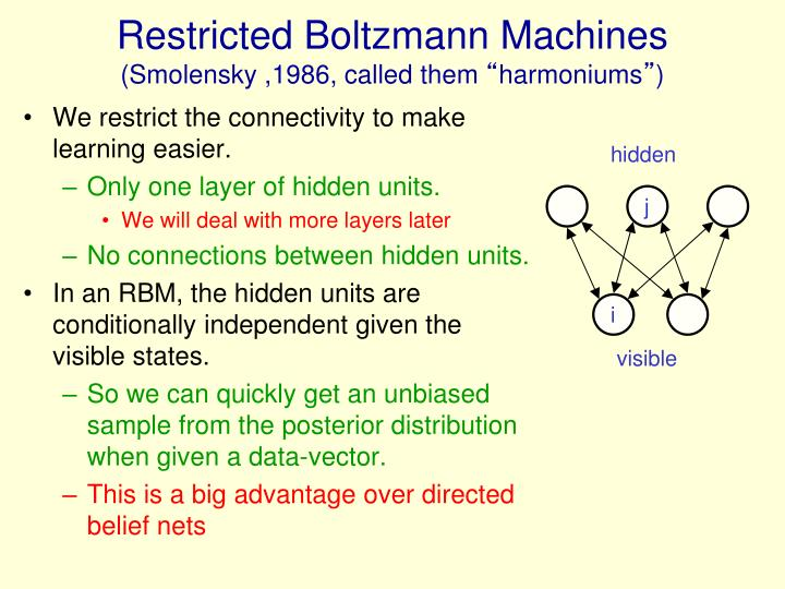 Restricted Boltzmann Machines