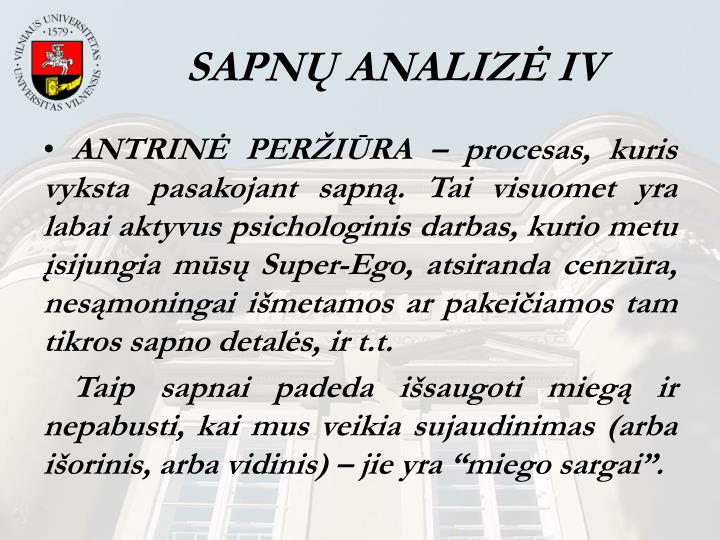 SAPNŲ ANALIZĖ IV