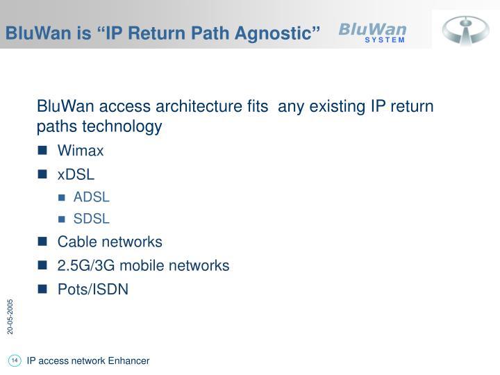 "BluWan is ""IP Return Path Agnostic"""