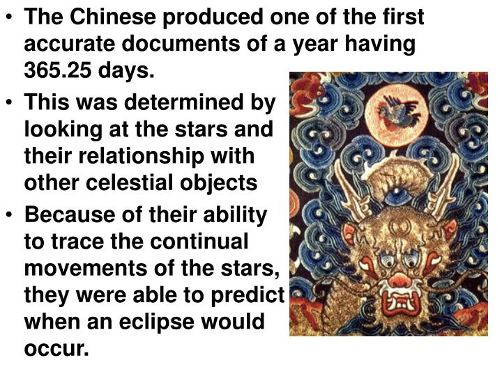 The Chinese produced one of the first accurate documents of a year having