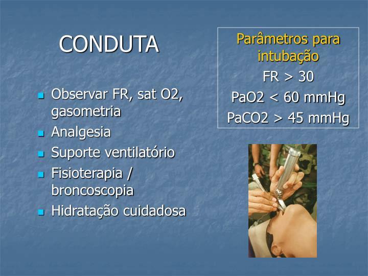 Parâmetros para intubação