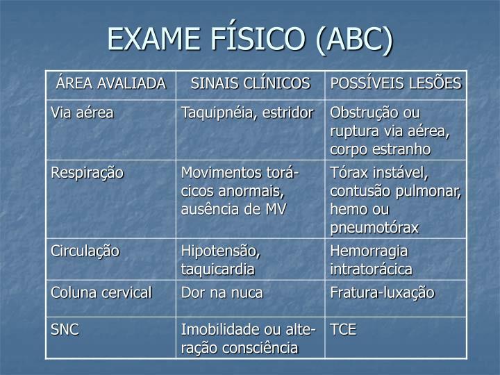 EXAME FÍSICO (ABC)