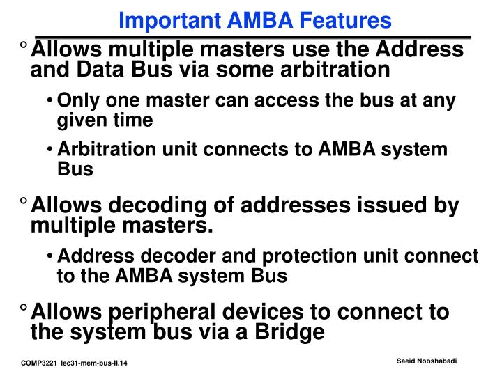 Important AMBA Features