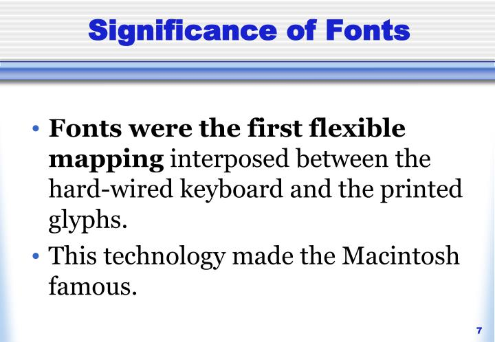 Significance of Fonts