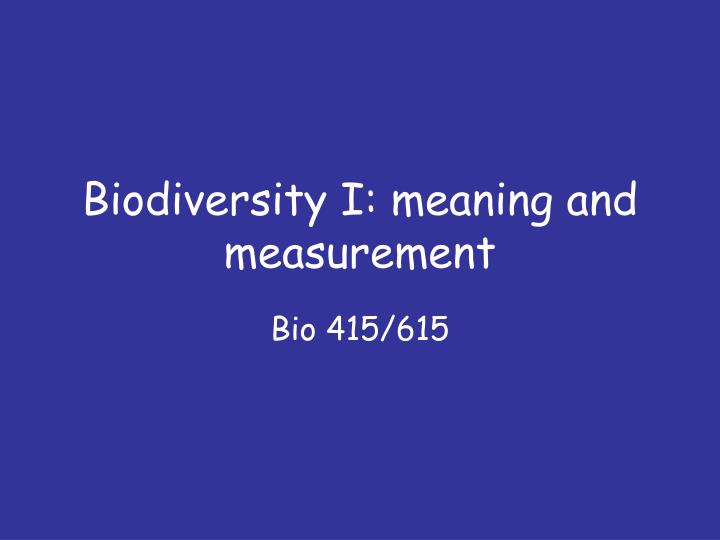 biodiversity a measure of the health