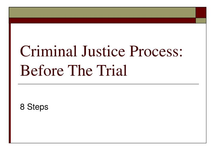 criminal justice process before the trial n.