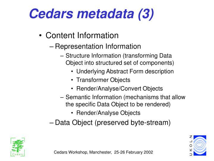 Cedars metadata (3)