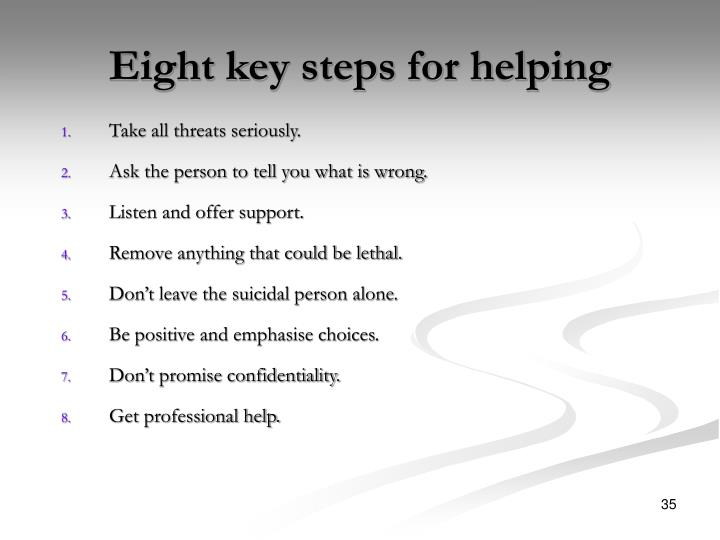 Eight key steps for helping