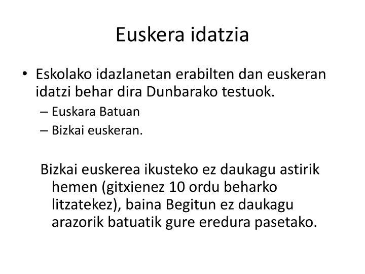 Euskera idatzia