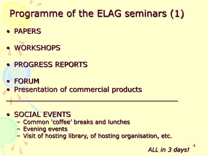 Programme of the ELAG seminars (1)