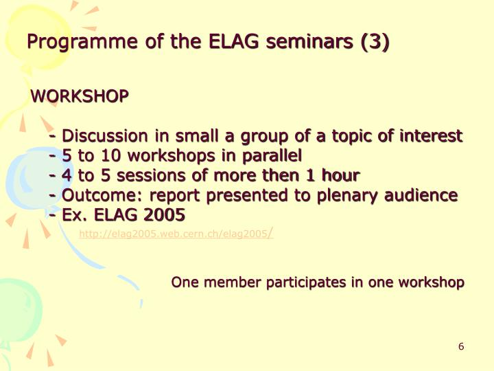 Programme of the ELAG seminars (3)
