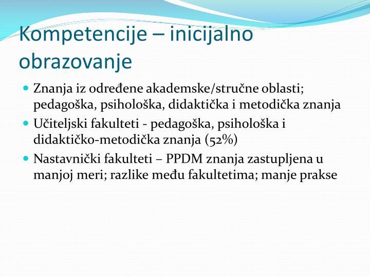 Kompetencije – inicijalno obrazovanje