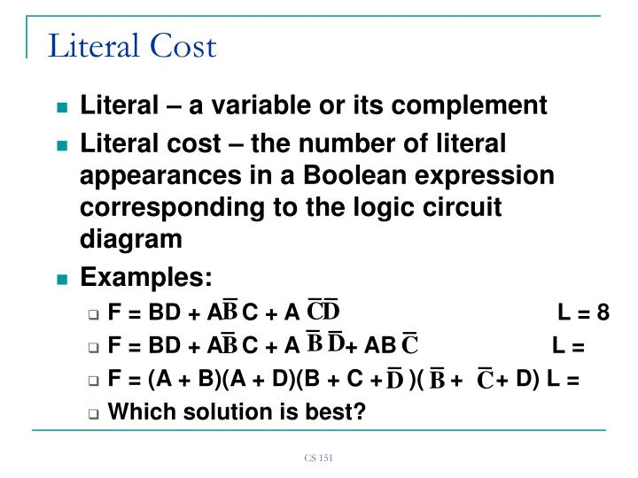 Literal cost