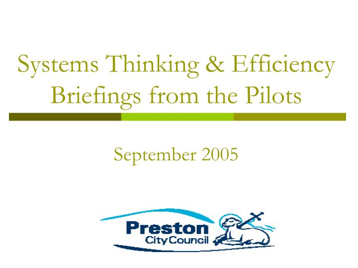 Systems thinking efficiency briefings from the pilots september 2005