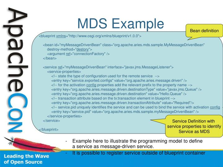 Ppt blueprint advanced features powerpoint presentation id4455110 example here to illustrate the programming model to define a service as message driven service malvernweather Choice Image