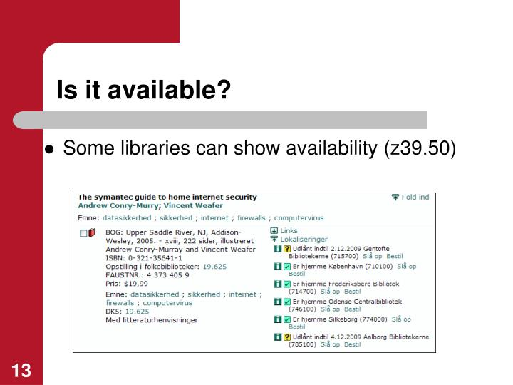 Is it available?