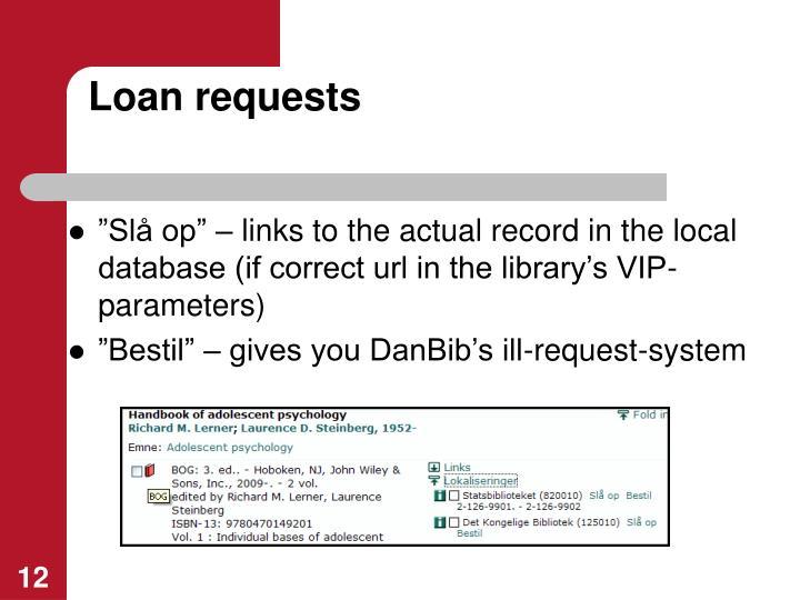 Loan requests