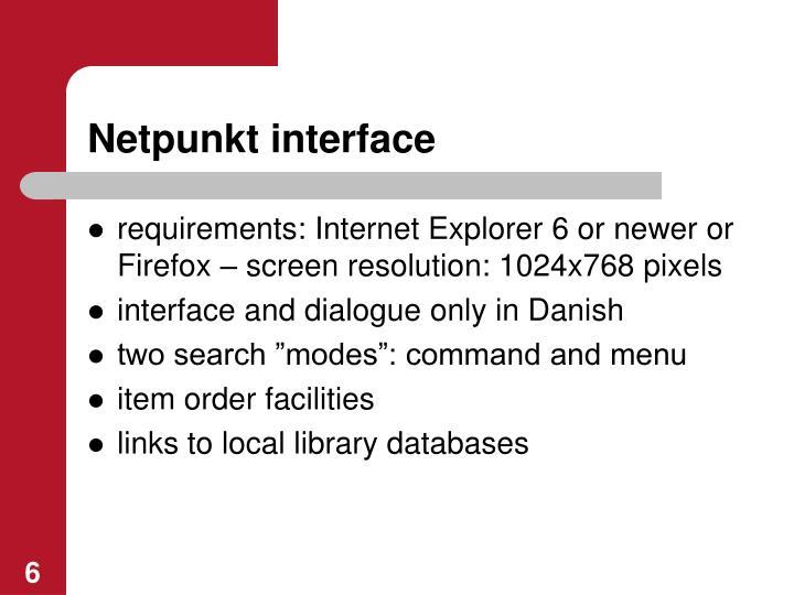 Netpunkt interface