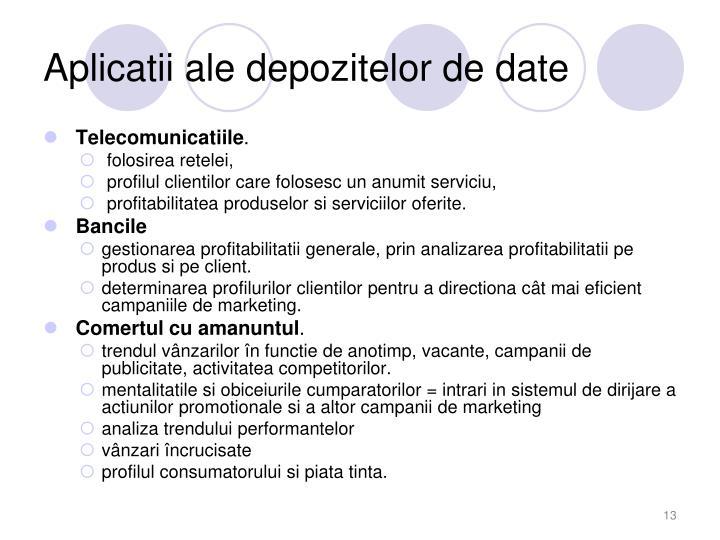 Aplicatii ale depozitelor de date