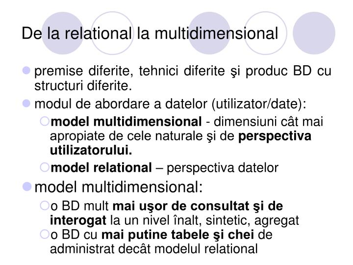 De la relational la multidimensional