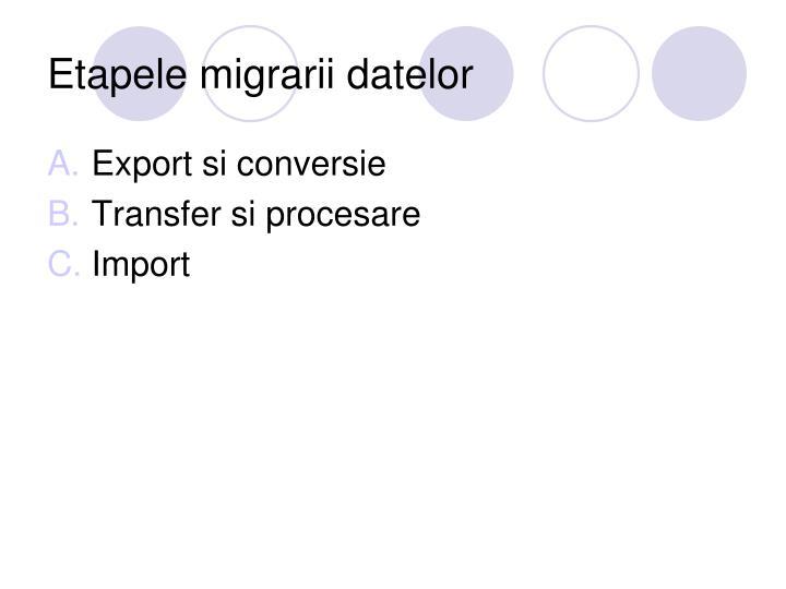 Etapele migrarii datelor