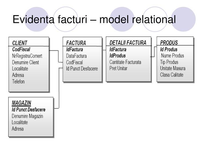 Evidenta facturi – model relational