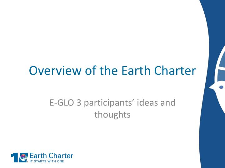 Overview of the Earth Charter