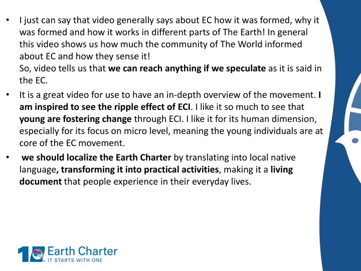 I just can say that video generally says about EC how it was formed, why it was formed and how it works in different parts of The Earth! In general this video shows us how much the community of The World informed about EC and how they sense it!