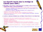 les objectifs inscrits dans la strat gie de lisbonne mars 2000